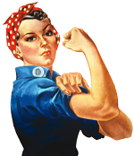 Rosie the riveter style=